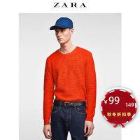 ZARA 03332404652 男士纯棉纹理针织衫 (XL、桔色)