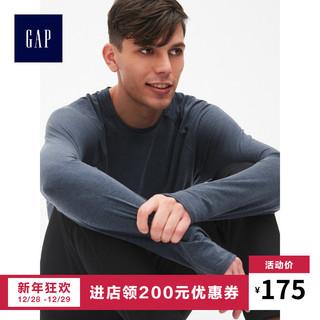 GapFit系列男装运动T恤396053 纯色内搭男士圆领长袖上衣打底衫 (灰色、L码)