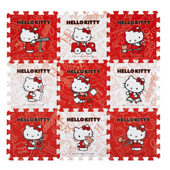 Meitoku 明德 Kitty猫 PE泡沫爬行垫宝宝爬爬垫 30*30*1.0 红+白 9片 *5件