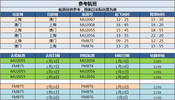 东航/上航直飞!上海-澳门3-4天往返含税