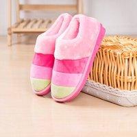 冬季居家包跟棉拖鞋 厚底情侣保暖拖鞋 防滑男女室内冬天月子毛毛拖 粉25厘米36-37码(适合35-36)