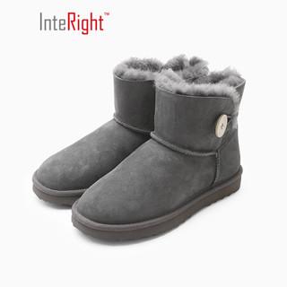 INTERIGHT 皮毛一体保暖雪地靴时尚纽扣女靴 灰色 240码