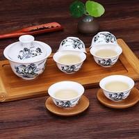 豹霖 功夫盖碗茶杯套装 1碗+6杯 随机花色