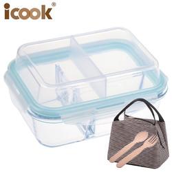 iCook 玻璃饭盒 410ml+小麦秸秆餐具
