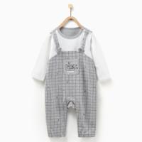 童泰春季新款婴儿长袖连体衣3-18月宝宝假两件连身衣休闲哈衣爬服