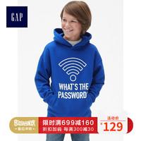 Gap 盖璞 399599 男童加绒印花连帽衫卫衣 明亮蓝 110cm