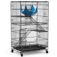 英伦印象 猫笼子三层 豪华多层别墅宠物笼子猫窝 便携手提折叠加粗加密铁丝笼CAT-610黑色(舒适型)