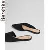 Bershka女鞋 2018新款黑色休闲尖头平底穆勒鞋单鞋 15150331040 59元