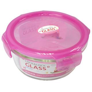 乐扣乐扣(LOCK&LOCK)新生儿HELLO KITTY格拉斯保鲜盒密封型耐热玻璃储物罐微波炉饭盒碗650ml LLG831-PKT粉色