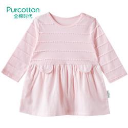 全棉时代   幼儿女款拼接长袖连衣裙, 1件装 樱花粉 100/52