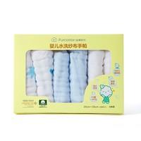 PurCotton 全棉时代 婴儿6层水洗纱布手帕 25*25cm 白色+蓝色+蓝色棉呦呦 6条装