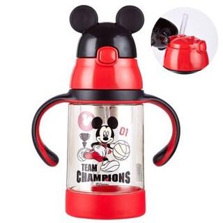 迪士尼(Disney)宝宝学饮杯吸管杯 儿童水杯子防漏带手柄PPSU水壶 WD-13A红色米奇350ml *3件
