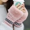 手套女冬季甜美可爱加厚保暖韩版潮学生卡通露指加绒针织手套半指 9.9元(需用券)