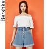 Bershka女士 新款蓝色休闲高腰显瘦卷边纸袋牛仔短裤 03297111428 79元