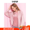 Lagogo2018年秋季新款时尚粉色宽松棒球服落肩长袖夹克外套女 206元