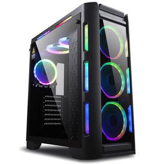 金河田峥嵘Z30幻彩台式电脑机箱 钢化玻璃侧透游戏水冷主机箱