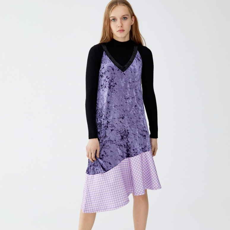PULL&BEAR 9396408628-23 女士拼接丝绒连衣裙