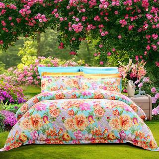 富安娜家纺  淡雅花卉纯棉磨毛床上用品四件套 全棉1.5m床