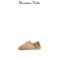 秋冬折扣 Massimo Dutti 男鞋 沙色绒面真皮黄麻草编鞋 12903322107