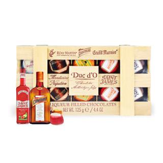 年货礼盒 比利时进口 (Ducd'O)迪克多木盒酒芯巧克力制品125g *3件
