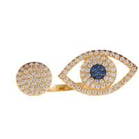APM MONACO ETE系列 A16766OXY 幸运之眼 镶晶钻镀金 女士开口戒指