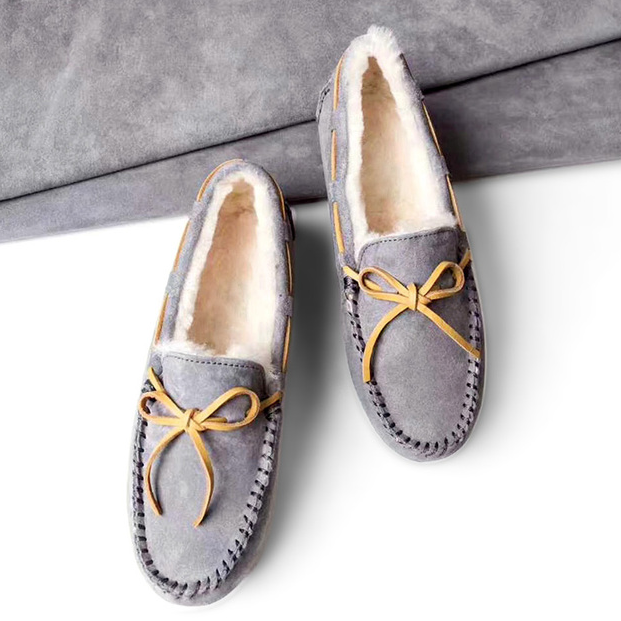 Ozwear 女士羊皮毛一体豆豆鞋