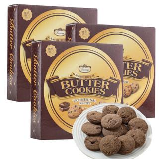 马来西亚进口 Luxway 乐卡斯巧克力粒黄油曲奇饼干90g*3盒 三联包 早餐休闲零食 *23件