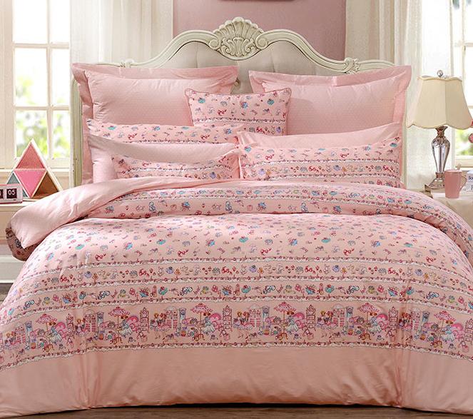 FUANNA 富安娜 全棉四件套  公主小妹  1.8米床 (被套230*229cm) 粉色