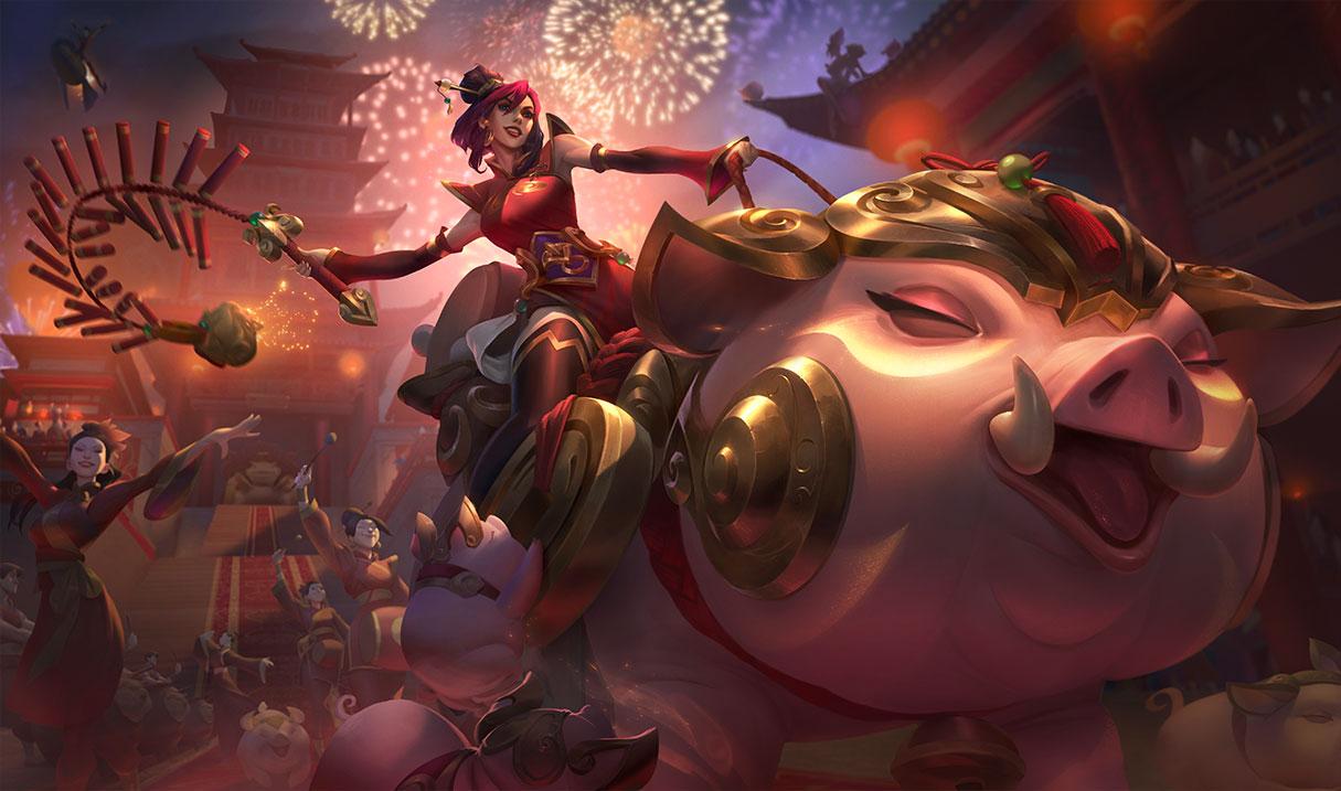 《英雄联盟》金猪烈焰 瑟庄妮 金猪送福版