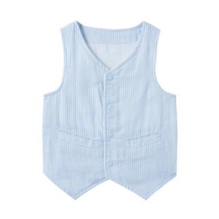 全棉时代婴儿纱布绅士马夹 80/48 蓝白竖条 1件装 *3件