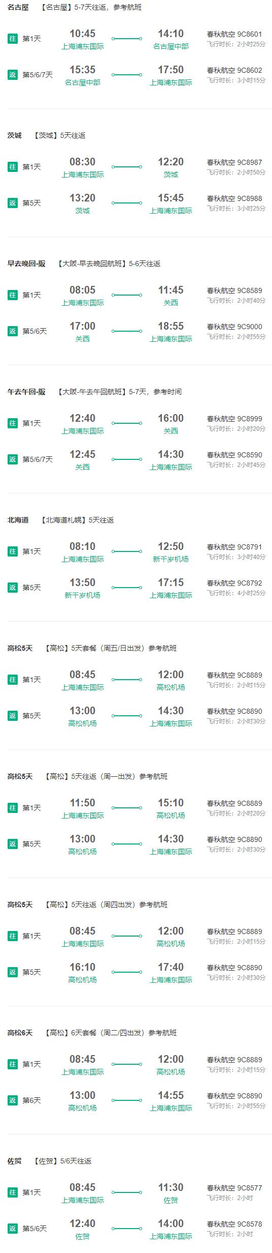 上海-日本大阪/名古屋/北海道/高松/佐贺/茨城 5-7天往返含税