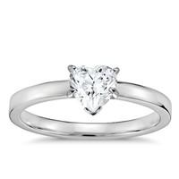 Blue Nile 铂金低圆拱内圈卜身设计单订婚戒指+1.00克拉心形钻石(切割VG/G色/净度VVS1)