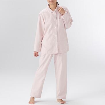 MUJI 无印良品 68AE204 女式无侧缝法兰绒睡衣 粉红色X格子 M