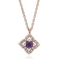 Blue Nile 14k玫瑰金 紫水晶与钻石花朵吊坠