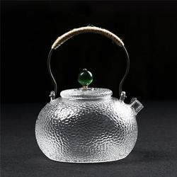 日式锤纹耐热玻璃带过滤烧水壶煮茶壶黑茶普洱煮茶器泡茶壶 绿钮款C-85-21-13