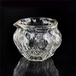日式金边锤纹品茗杯小茶杯玻璃锤目品杯描金茶杯公杯公道杯 核桃款公杯C-85-27-2