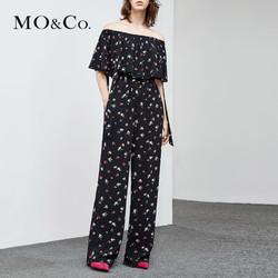 MOCO2018夏季新品一字肩碎花松紧腰连体裤MA182JPS103 摩安珂