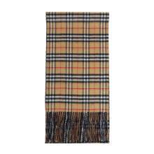 14日8点:BURBERRY 巴宝莉 男女通用款Vintage系列蓝碳色羊绒双面两用格纹围巾 40604241