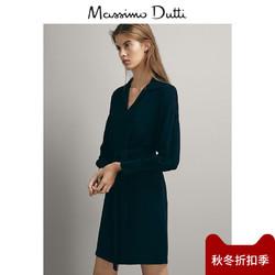 秋冬折扣 Massimo Dutti女装黑色连衣裙秋冬打底V领裙子中长款女裙修身冬06672583401