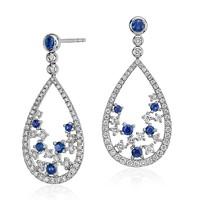 Blue Nile STUDIO 18k白金蓝宝石与钻石花卉泪滴形耳环