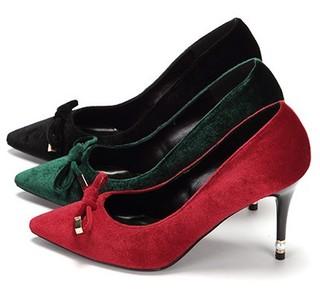 DAPHNE 达芙妮 1017101085 女士绒面高跟鞋