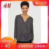 H&M HM0613456__1 女装衬衫 2018新款黑色蕾丝v领上衣女 40元