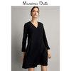 Massimo Dutti女装新款打底连衣裙冬装女士休闲小黑裙秋冬 06633730800 490元