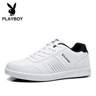 花花公子(PLAYBOY)DS65079 男鞋小白鞋百搭轻质板鞋男士运动休闲鞋 白色 42