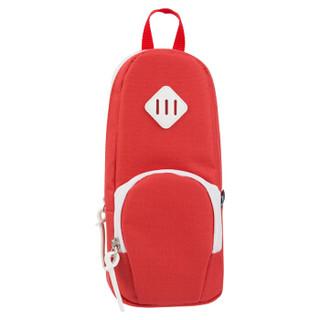 得力(deli)大容量笔袋创意书包款铅笔收纳袋/吸铁站立式 红色66759