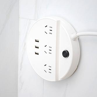 吉顺 智能3USB接口开关插座1.5米 白色