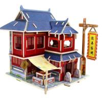 若态手工DIY小屋拼装木质小房子3d立体拼图拼插模型世界风情儿童创意益智玩具生日礼物中国风情F128中国客栈