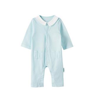 全棉时代 婴儿衣服 婴儿针织提花长袖带领连体衣 66/44(建议3-6个月) 浅蓝 1件装
