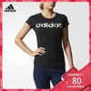 阿迪达斯adidas 官方 运动型格 女子 短袖T恤 黑 CD1120 80元