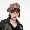 ONLY 118486504 女士丝绒系带装饰格纹含羊毛平顶帽 64.5元